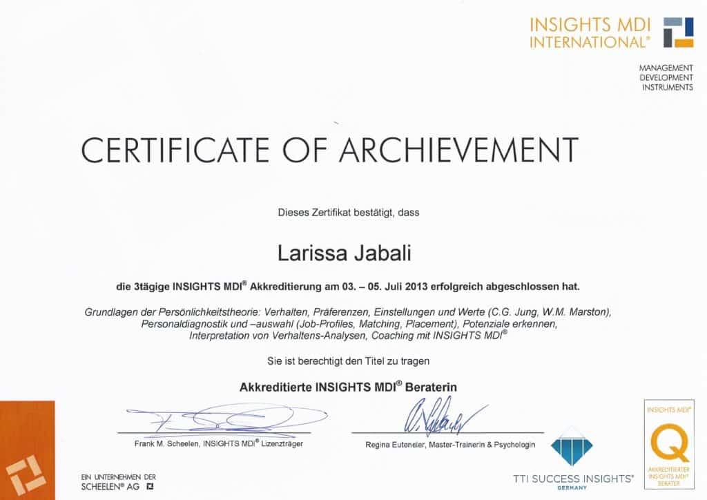 Zertifikat Insights MDI Beraterin Larissa Jabali